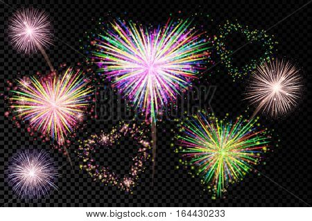 Vector holiday valentine firework. A set of isolated vector fireworks on a transparent background.