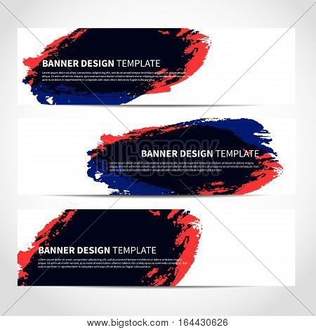 Banners. Set of trendy urban style vector banners template or website headers with watercolor imitation background. Advertising banners with colored watercolor spots. Design for banner. card, header