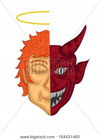 Angel and Demon Two Side Faces Cartoon Characer. Vector Illustration.