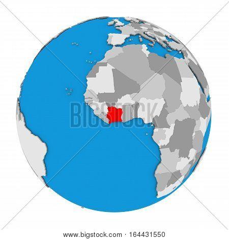Ivory Coast On Globe