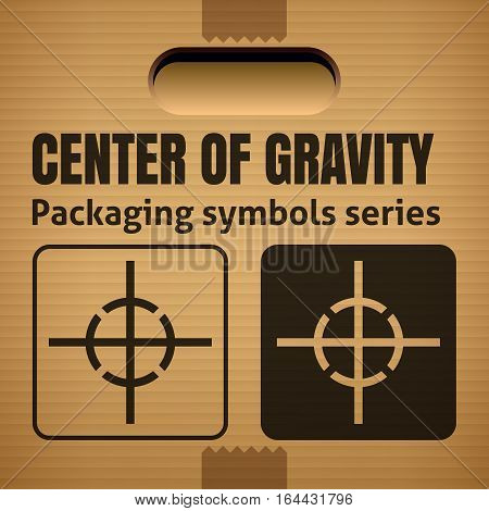 CENTER OF GRAVITY packaging symbol on a corrugated cardboard box. For use on cardboard boxes packages and parcels. Vector illustration