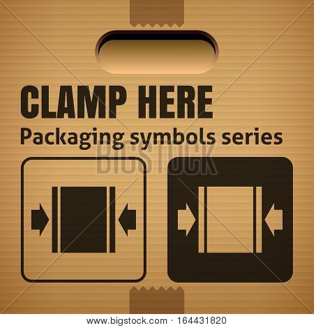 CLAMP HERE packaging symbol on a corrugated cardboard box. For use on cardboard boxes packages and parcels. Vector illustration