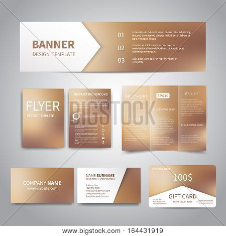 Banner, flyers, brochure, business cards, gift card design templates set with beautiful shiny bronze background. Corporate Identity set, Advertising, Christmas party promotion printing