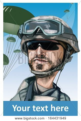 Funny hand drawn illustration cartoon. United States paratrooper airborne infantryman smiling face. Parachutes on background