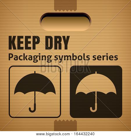 KEEP DRY packaging symbol on a corrugated cardboard box. For use on cardboard boxes packages and parcels. Vector illustration