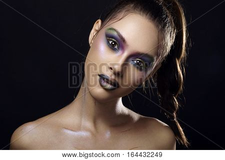Gorgeous Woman With Vivid Make Up On Black Background