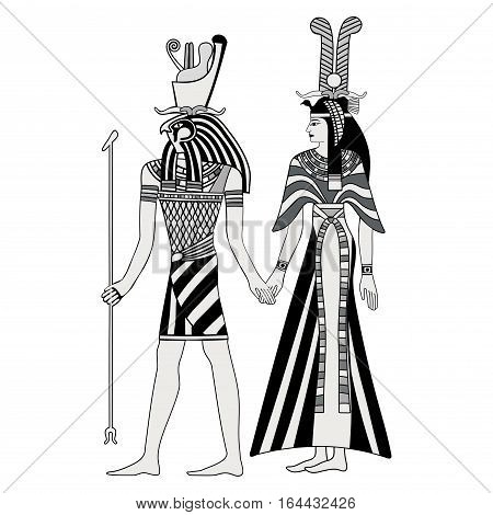 Vector illustration of Egyptian national drawing. Goddess Isis and Queen Nefertari.