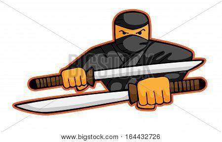 Ninja Attack with Swords Cartoon Character. Vector Illustration.