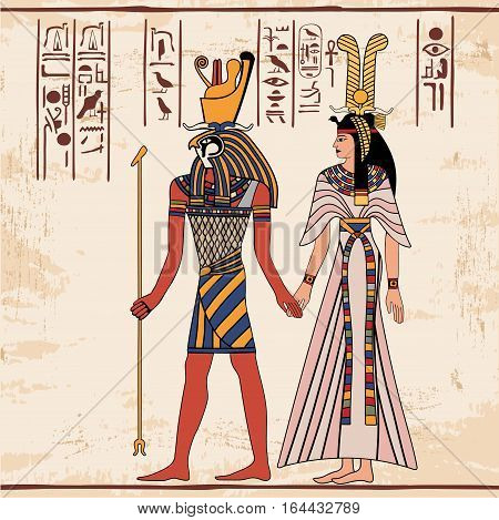 Vector illustration of Egyptian national drawing. Goddess Isis and Queen Nefertari. Color drawing.