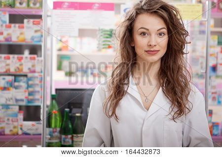Healthcare Business. Pharmacist Looking At Camera
