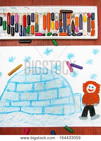Colorful drawing - Eskimo with his igloo