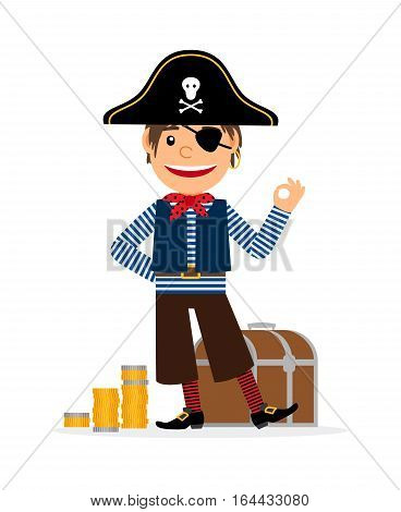 Pirate cartoon character with golden coins and treasure chest. Vector icon on white background