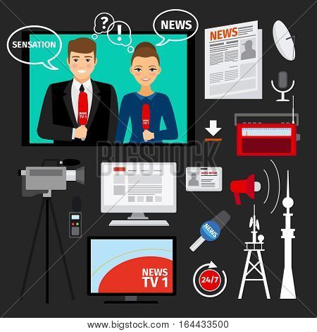 News concept illustration with television and newspapers ftal elements. Mass media vector concept