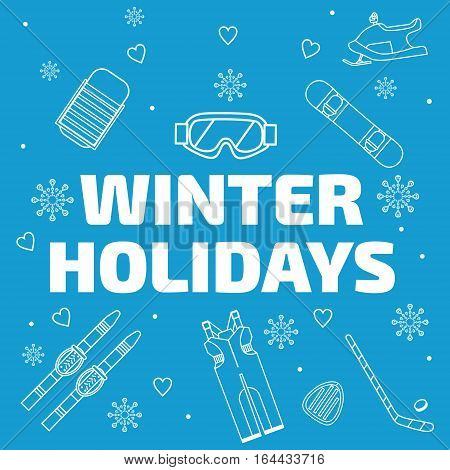 Winter Holidays Banner. Line Icons Set On Blue Background.