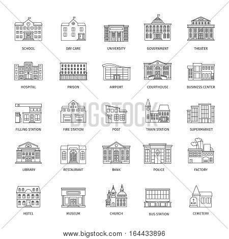 Government buildings line icons or urban municipal houses outline signs. Vector illustration