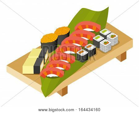 The Set Of Rolls, Sushi, Salmon With Rice, Salmon Caviar On A Wo