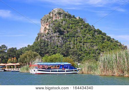 Pleasure boats on Dalyan river in Turkey
