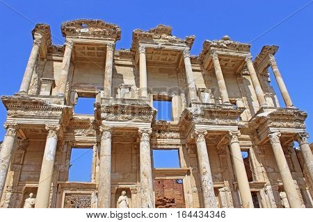 The remains of the enormous Library of Celsus in the city of Ephesus in modern day, Turkey