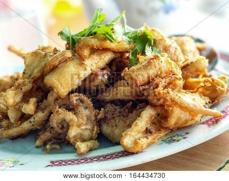 Indoor Seafood Squid On White Plate Chinese Style
