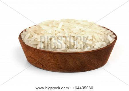 Rice bowl raw rice in wooden bowl on white background