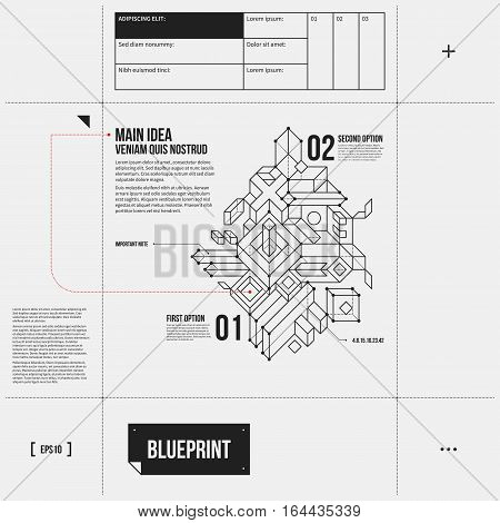 Simple Vector Layout With Abstract Outline Object In Draft Style. Eps10