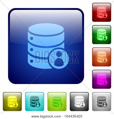 Database privileges icons in rounded square color glossy button set