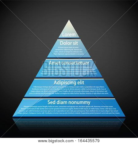 Blue Glossy Pyramid With Text On Each Level. Useful For Infographics, Presentations Or Advertising.