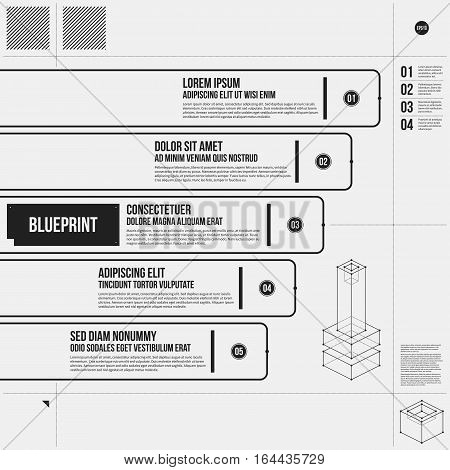 Vector Chart Template With Five Stages In Draft Style. Eps10