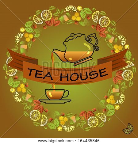 Tea house card. Round frame with cup, leaf, lemon,  pot and brown ribbon on green background. Vector template.