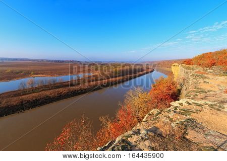 View of the Osage River during the autumn from a bluff in the Ozarks of Missouri.