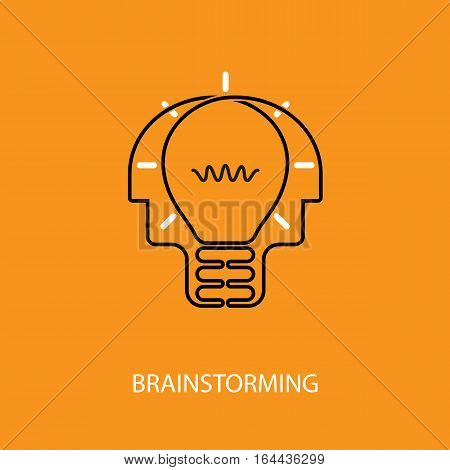 Human heads and light bulb icon.Creative mind logo.Creative group logo.Brain.Creative mind.Man head and people symbol.Concept of brainstormingbusiness thinkingcreating new ideas or creativity sign.Vector flat design illustration