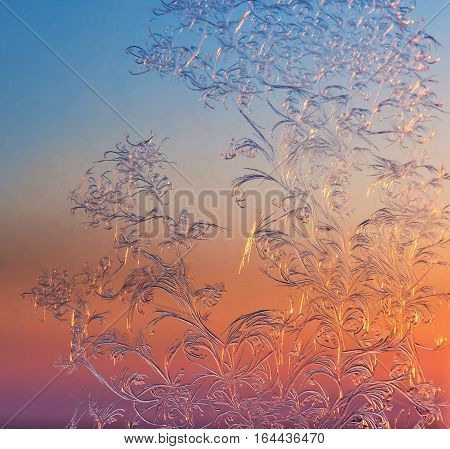 Frosty patterns on the window pane at sunset
