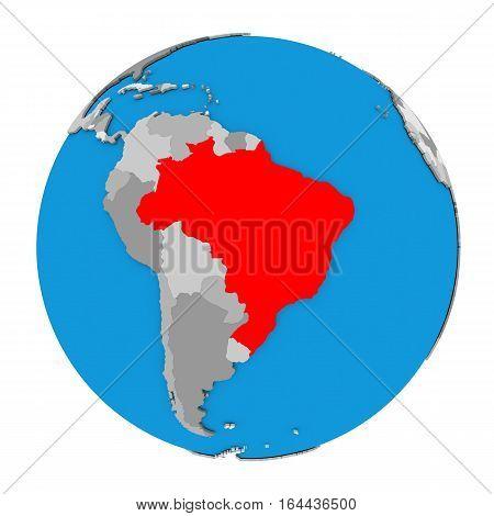 Brazil On Globe
