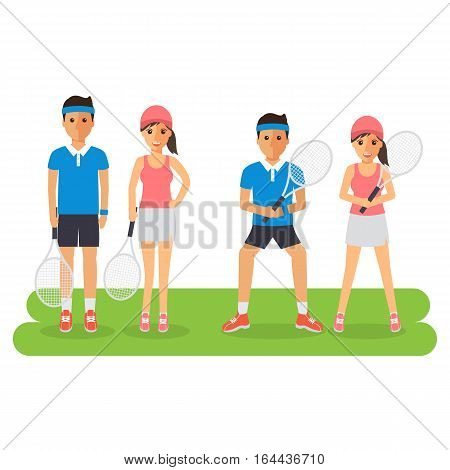 Man and woman tennis sport athletes players playing training and practicing with tennis racket. Flat design people characters.