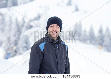 Young Skier, Skiing In A Austrian Mountain Resort