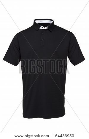 Black golf tee shirt with white collar for man on white background