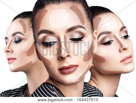 Young woman's face with contouring makeup. Contour and highlight makeup concept.