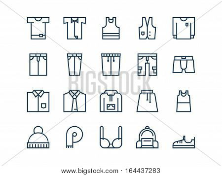 Clothing. Set of outline vector icons on a white background