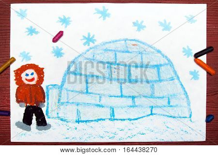 Colorful drawing of an Eskimo with his igloo
