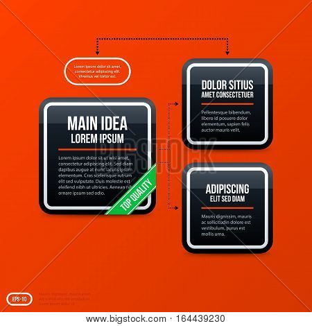 Corporate Business Organization Chart Template On Bright Orange Background. Useful For Presentations