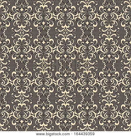 Gold seamless pattern curly lace texture vintage ornamental tulle background