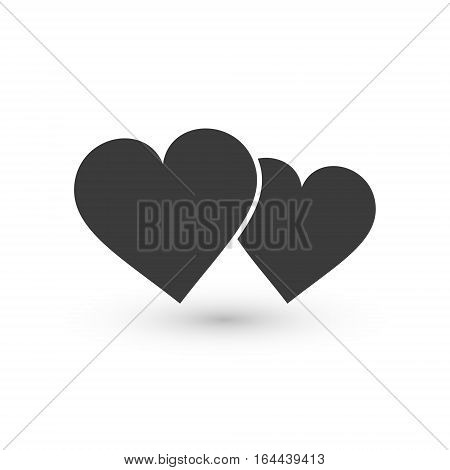 Two hearts icon vector isolated love smbol.