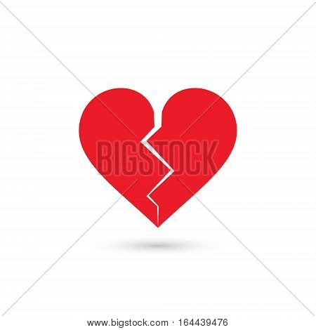 Broken heart icon vector isolated love sign.