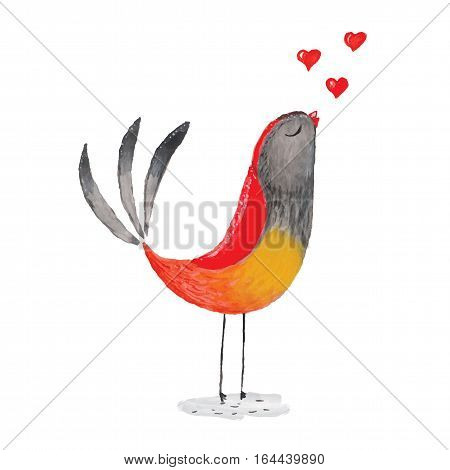 Watercolor bird in love for your design. For Valentine's day