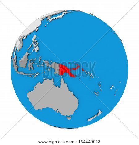 Papua New Guinea On Globe