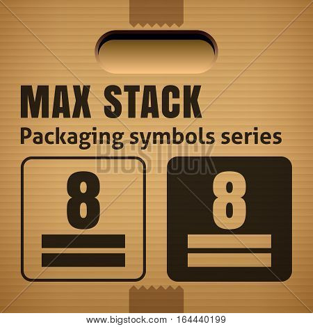 MAX STACK or WEIGHT STACKING LIMITATION packaging symbol on a corrugated cardboard box. For use on cardboard boxes packages and parcels. Vector illustration
