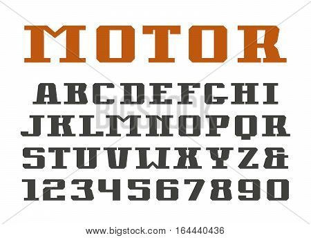 Serif font and numerals. Isolated on white background