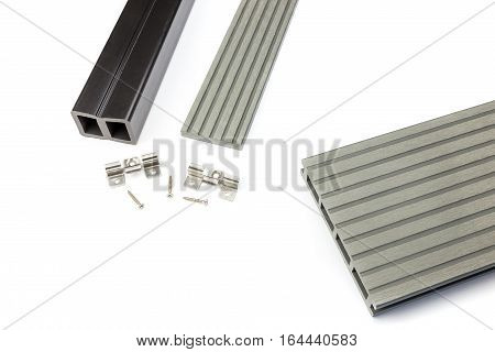 Light grey composite decking plank with fastening material