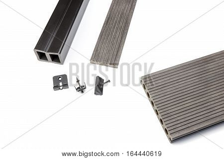 Grey composite decking plank with mounting material