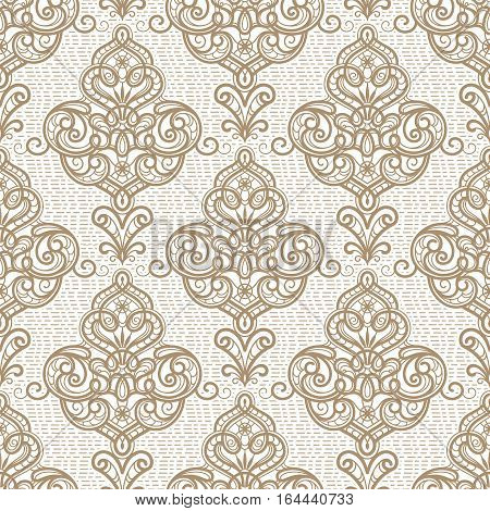 Vintage beige ornamental background vector seamless damask pattern in neutral color